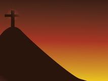 Cross on mountain vector illustration