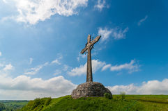 Cross on the mountain. Easter, spring Royalty Free Stock Photos