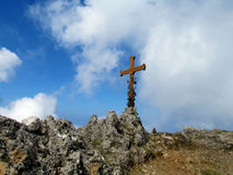 Cross at the mountain top Stock Photo