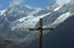 Cross in the mountains Stock Photography