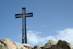 Cross on the Mt. Cresto. In italian Alps royalty free stock photography