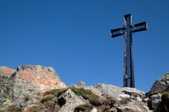 Cross on the Mt. Cresto. In italian Alps stock images