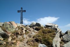 Cross on the Mt. Cresto in ita. Lian Alps stock photo