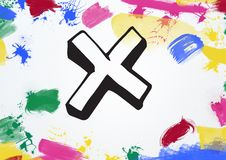 Cross with multi colored paint stroke royalty free stock images