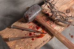 Cross, Nails, Crown of Thorns and Malet. Christian symbols of the crucifixion of Jesus Royalty Free Stock Photo
