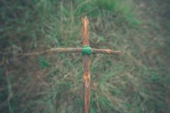 The cross with nature in the forest on the hill is the Blackground royalty free stock photos