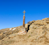 Cross near Ararat mountain. In Armenia Royalty Free Stock Image