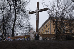 Cross near barricades on Euromaidan, Kiev Royalty Free Stock Image