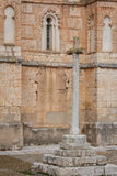 Cross near the medieval church in Penafiel. Spain Royalty Free Stock Photo