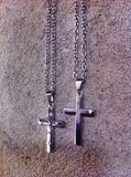 Cross Necklace. Stainless Jewelry Outfit Royalty Free Stock Image