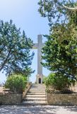 Cross on the observation deck. Mount Filerimos. Rhodes Royalty Free Stock Photography