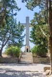 Cross on the observation deck. Mount Filerimos. Rhodes Royalty Free Stock Photos