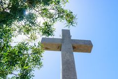 Cross on the observation deck. Mount Filerimos. Rhodes Royalty Free Stock Photo