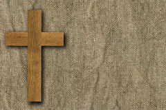 Cross on old canvas Royalty Free Stock Images