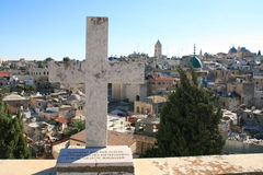Cross in the Old city of Jerusalem Royalty Free Stock Photos