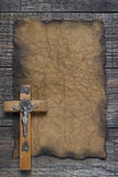 Cross on the old paper Royalty Free Stock Photography