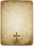 Cross on old parchment Royalty Free Stock Photos