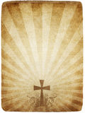 Cross on old parchment. Cross on old worn and grungy parchment paper vector illustration