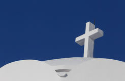 Cross on Orthodox Metropolitan Cathedral in Fira Royalty Free Stock Photo