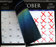 Cross out dates in the calendar Stock Images