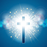 Cross over blue light explosion Stock Photo