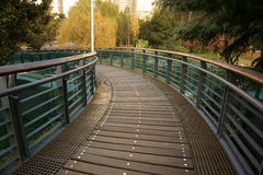 Cross-over bridge. In a park.It's a very beautiful view Royalty Free Stock Photos