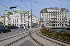 Cross over the city !!. Vienna in Austria Royalty Free Stock Photography
