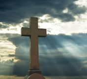 Cross over cloudy sky. See more similar images in my portfolio Royalty Free Stock Photo