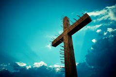 Cross over sky background concept of religion Royalty Free Stock Images
