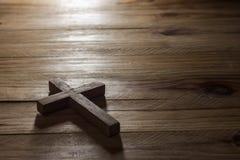 Cross over  wood table Stock Photo