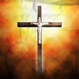Cross on paper background Stock Images