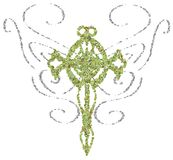 stylized Cross with stylized butterfly wings isolated Stock Image