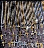 Cross Pendants. And Necklaces Religious Memorabilia Royalty Free Stock Image