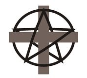 Cross and pentagram -  Stock Photography