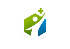 Cross pharmacy healthy body  logo design Royalty Free Stock Images