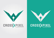 Cross Pixel. A modern style shape icon design and color. Elegant crown Royalty Free Stock Photo