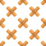 Cross Plasters Flat Icon Seamless Pattern. A seamless pattern with a first aid cross plasters flat icon, isolated on white background. Useful also as design Stock Photos