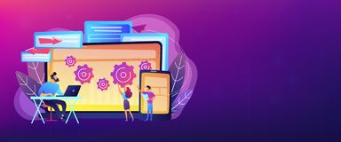 Cross platform bug founding concept banner header. royalty free illustration