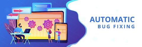 Cross platform bug founding concept banner header. Tester and developer work with laptop and tablet. Cross platform bug founding, bug identification and testing royalty free illustration