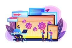 Cross platform bug founding concept vector illustration. stock illustration