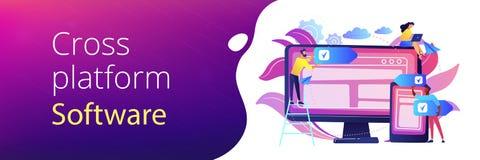 Cross-platform software concept banner header. vector illustration