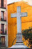 Cross at the Plaza de Puerta Cerrada in Madrid Stock Image