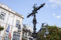 Cross in Plaza Santa Cruz Square, Seville Stock Image