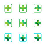 Cross plus medical pharmacy green logo icons Royalty Free Stock Image