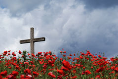 Cross on Poppy Knoll. Landscape of the poppy filled knoll with a Christian styled Cross. The knoll is known to be a mass cemetery from 1848 and 1849 stock photography