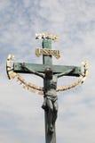 Cross in Prague. Cross on Charles bridge, Prague Royalty Free Stock Images