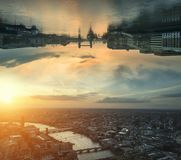 Cross processed sci-fi futuristic fantasy image of upside down c. Sci-fi futuristic fantasy image of upside down city landscape Stock Photography
