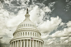 Cross processed US Capitol dome with clouds Royalty Free Stock Images