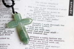 The Cross and Psalm 23. The cross on a bible passage royalty free stock photo