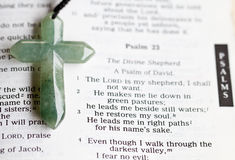 The Cross and Psalm 23. The cross on a bible passage royalty free stock photography